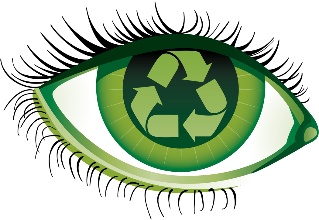 Human eye with the recycling emblem insideFile contains gradients